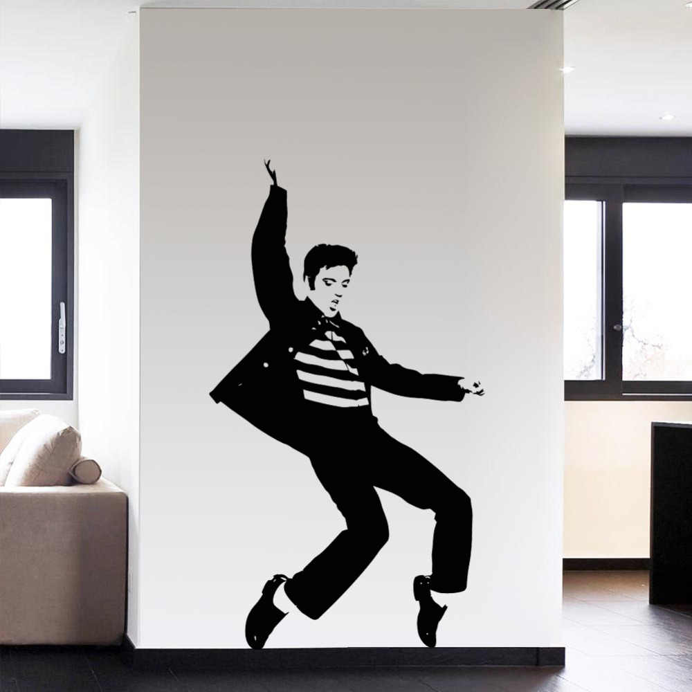 PVC Mode Tari Elvis Presley Pola Bedroom Wall Sticker Wall Art decals Home Decor Rock and Roll Musik Poster VAElvis13N