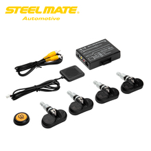 Steelmate TP-05 Tire Stress Monitoring System TPMS for in-dash A/V Monitor with Distant Button Four Skilled Inside Sensors
