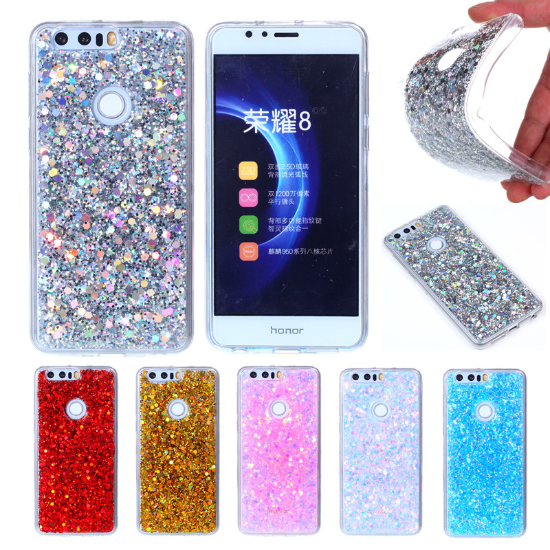 Huawei Honra 8 Honor8 Colorido Brilhante Soft Case Silicone TPU Quadro com Glitter Brilhante de Volta Caso Capa para o Huawei Honor 8 5.2 polegada