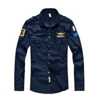 2017 Printemps Été Hommes Plein Air Force 1er chemises à manches longues de Chemise Hommes armée vert Chemises 4 couleurs plus la Taille S-4XL