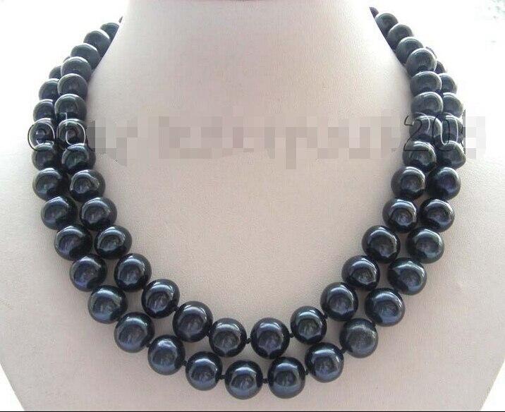 """18/"""" genuine Natural 12mm black Round Pearl necklace 9k zircon #f1647!"""