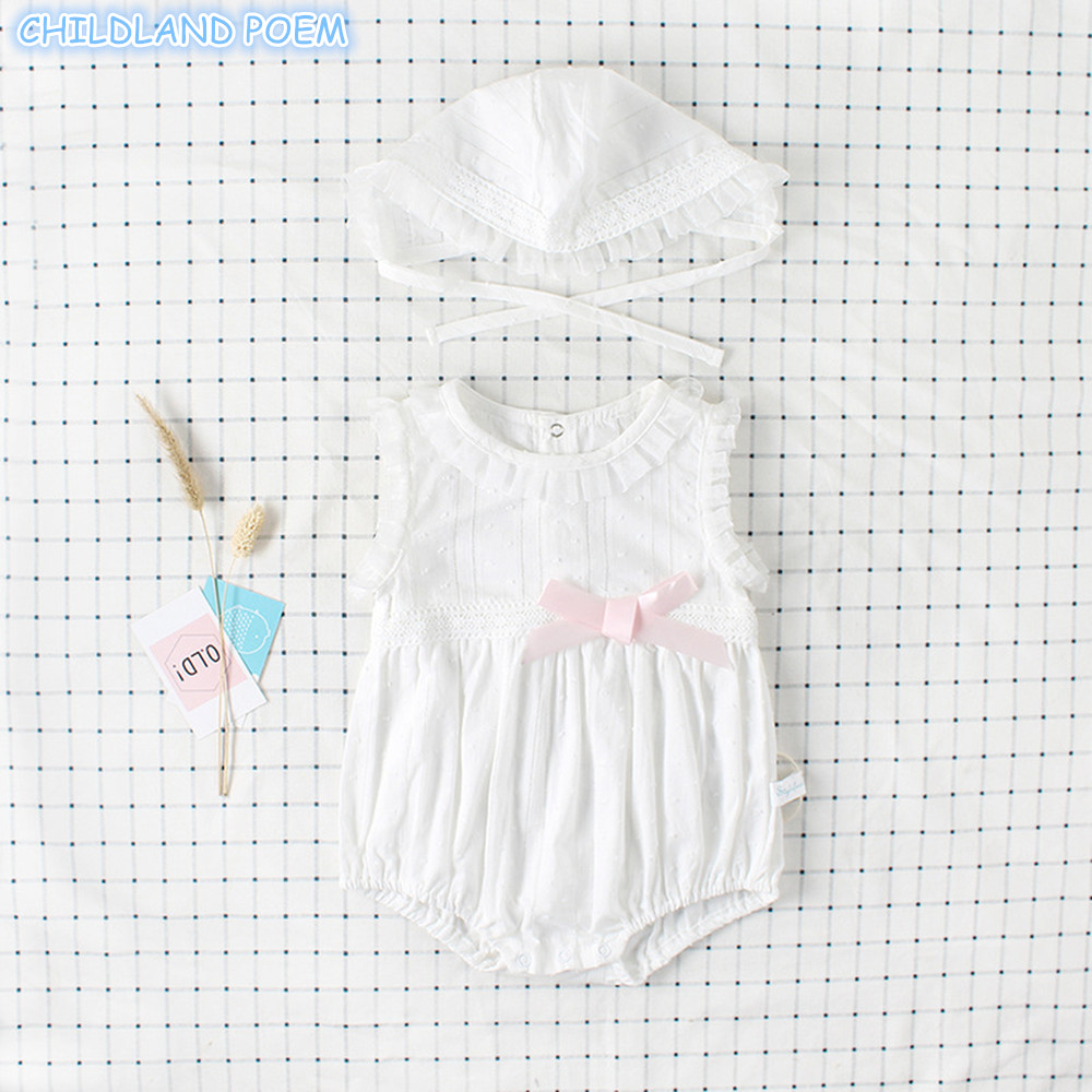 Baby Girls Clothes Summer Baby First 1st Birthday Party Clothes Cotton Princess Newborn Girl Baby   Rompers   Set Sunsuit With Hat