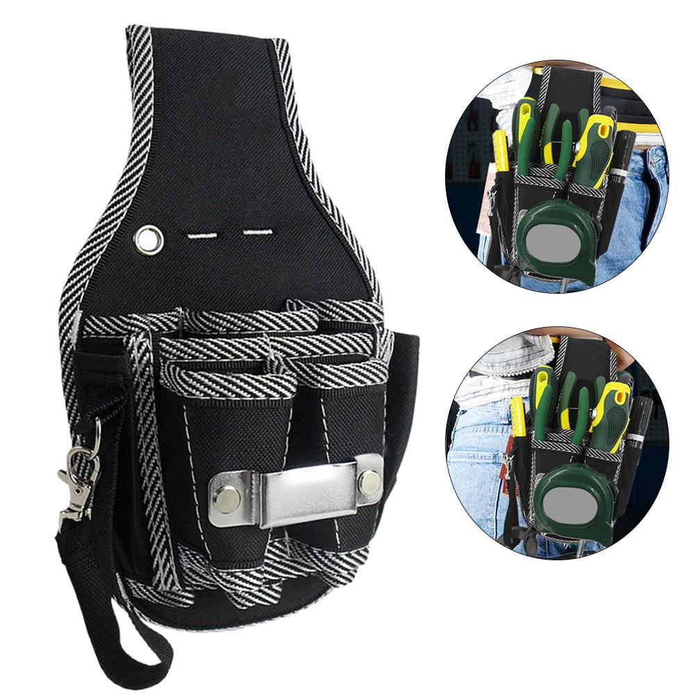 9-in-1 Drill Screwdriver Utility Kit Holder Nylon Carpenter Tool Bag Waist Pocket Tool Belt Pouch Bag Drill Hammer Storage rewin wb 9025 handy 2 pocket 5 holder water resistant dacron waist tool bag black yellow