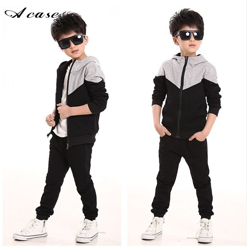 2018 Retail Children Jogging Tracksuit Set Hooded Coat + Pants Kids Boy Baby Spring Autumn Clothes Sports Suit 5 7 9 11 14 Years 2018 spring autumn baby boy tracksuit clothing 2pcs set cotton boys sports suit children outfits 2 3 4 5 6 7 years kids clothes