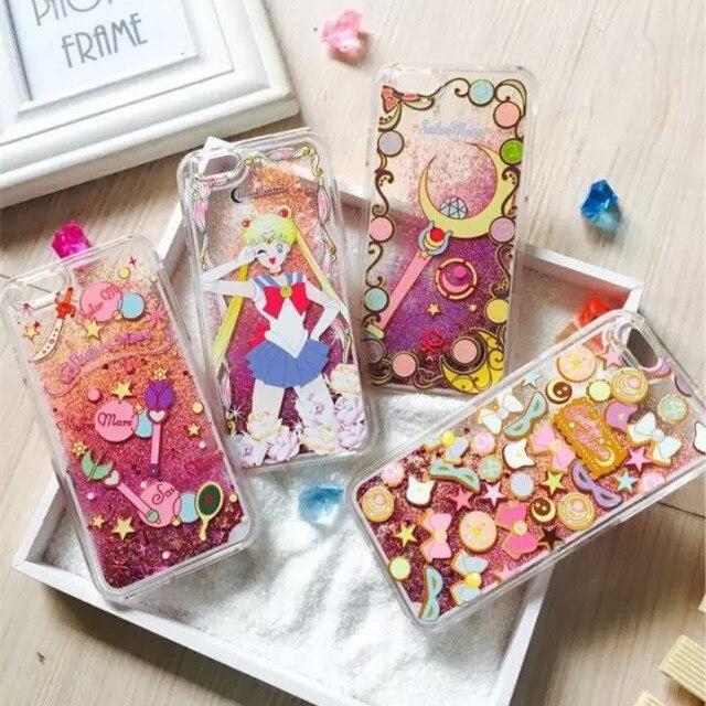 Para coque iphone 6 6 s 5 5S se 7 mais dinâmico areia movediça líquido glitter case sailor moon crystal clear cell phone case voltar cobrir