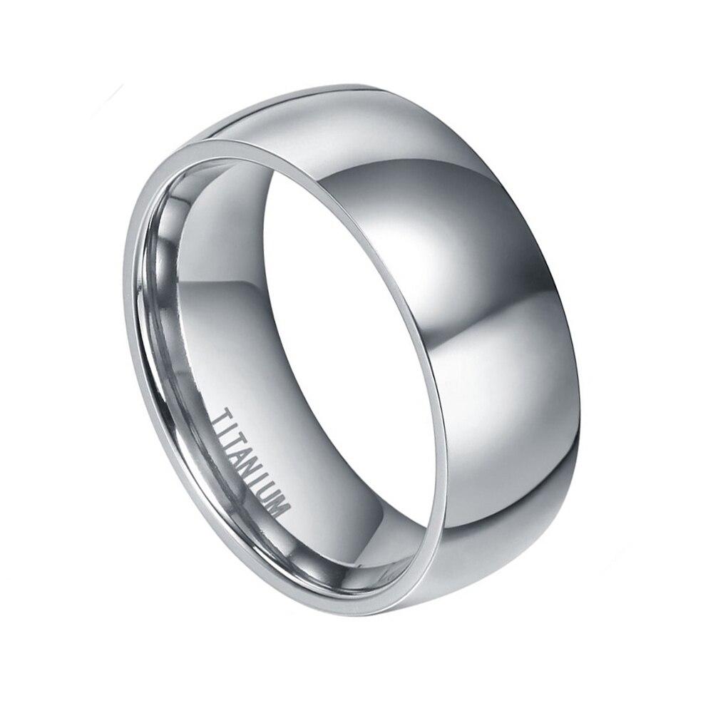 8mm Qollu Dizayn Kişi Klassik Gümüş Titan Ring Yüksək Cilalı - Moda zərgərlik - Fotoqrafiya 2