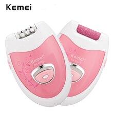 Электрический эпилятор Kemei 2 в 1, перезаряжаемый Аккумуляторный эпилятор для удаления мозолей, эпилятор для женщин