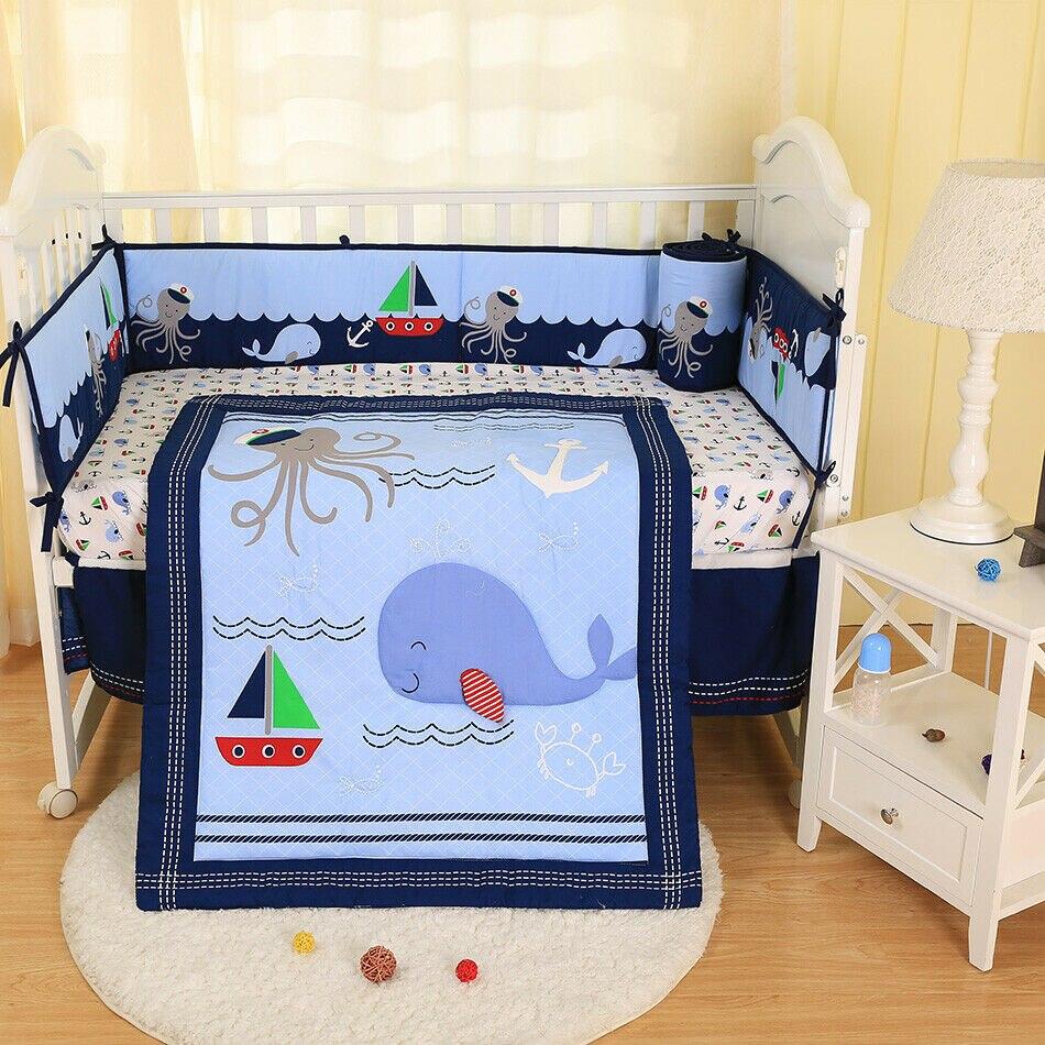 7pcs Baby Bedding Set Marine Shark Anchor Nursery Quilt Bumper Sheet Crib Skirt Baby Items Baby Boy Crib Bedding Baby Crib Set