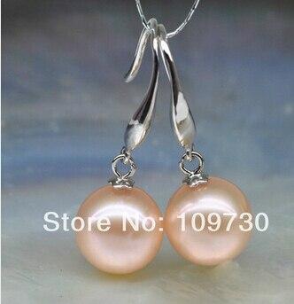 Bijoux de mariée livraison gratuite vente chaude AAA 11-12mm rond rose Culture D'eau Douce Perle boucles d'oreilles 925 argent