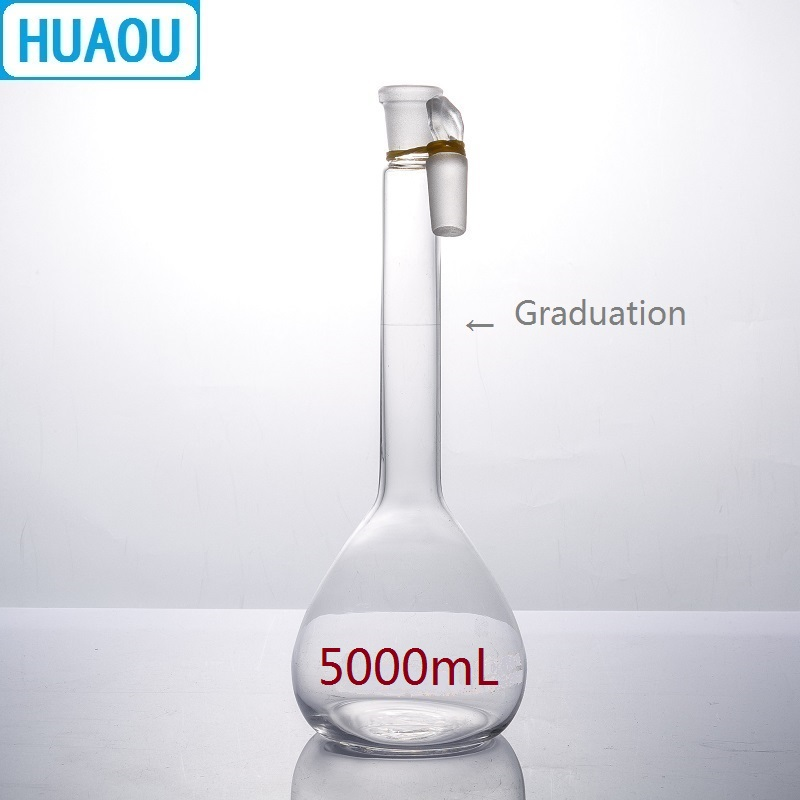 HUAOU 5000mL Volumetric Flask Class A Neutral Glass with one Graduation Mark and Glass Stopper Laboratory Chemistry EquipmentHUAOU 5000mL Volumetric Flask Class A Neutral Glass with one Graduation Mark and Glass Stopper Laboratory Chemistry Equipment