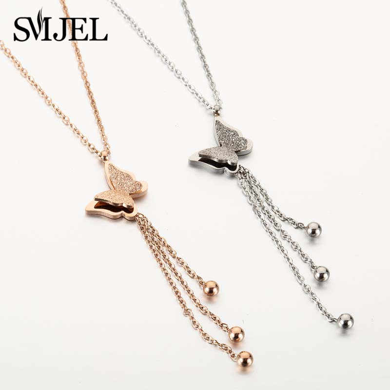 SMJEL Stainless Steel Butterfly Pendants Necklaces for Women Ladies Animal Tassel Chain Ball Charm Choker Girls Jewelry Gifts
