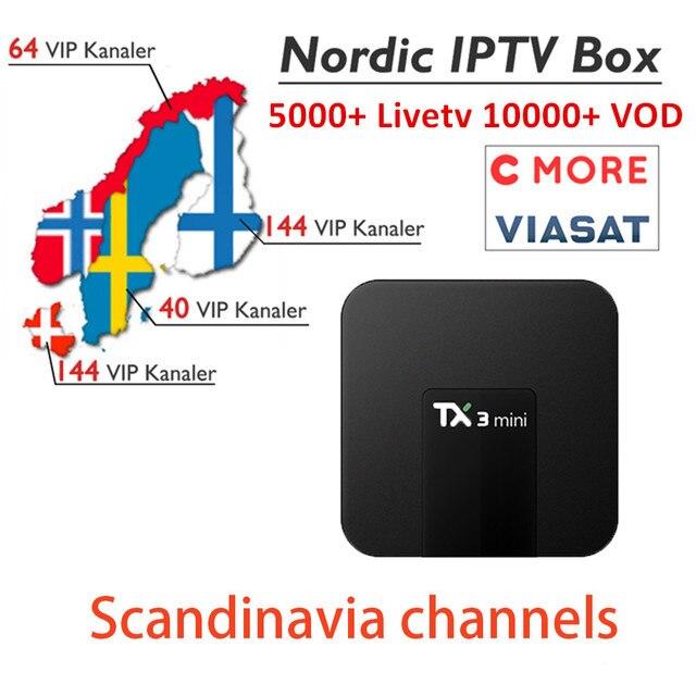 TX3mini Android Nordic IPTV Box 4K Marvel HD World 5000 Scandinavia Norway Denmark Finland Sweden Iceland  Smart Set top TV Box