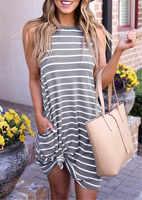 Striped Summer Dress With Pocket Fashion O-Neck Sleeveless Dress Women 2019 vestidos mujer Summer Stylish robe femme Dresses
