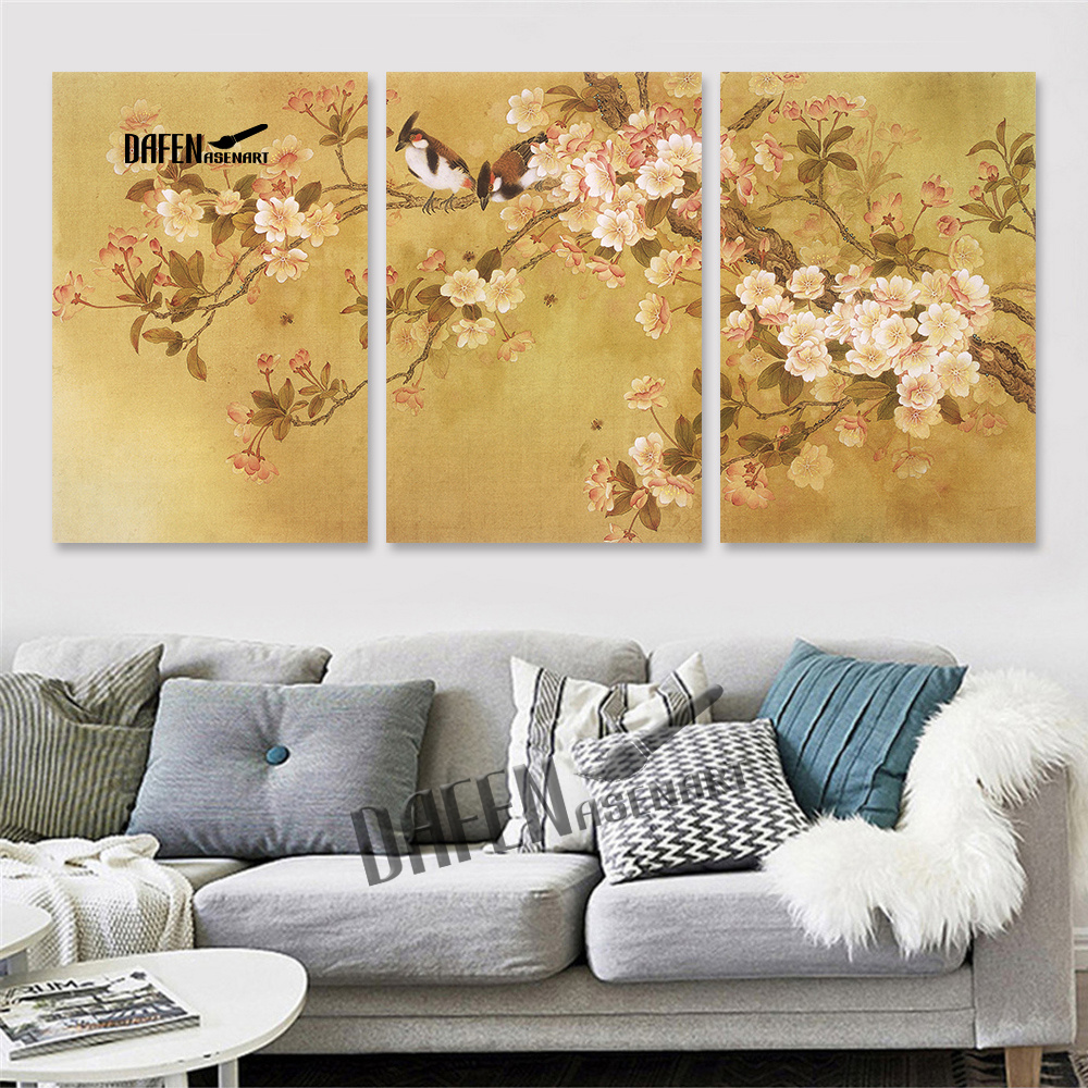 3 Panels Chinese Traditional Painting Birds Singing in Flower ...