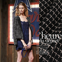 150cm wide Customized wool woven fabric black autumn and winter wool woolen weaving fashion coat fabric