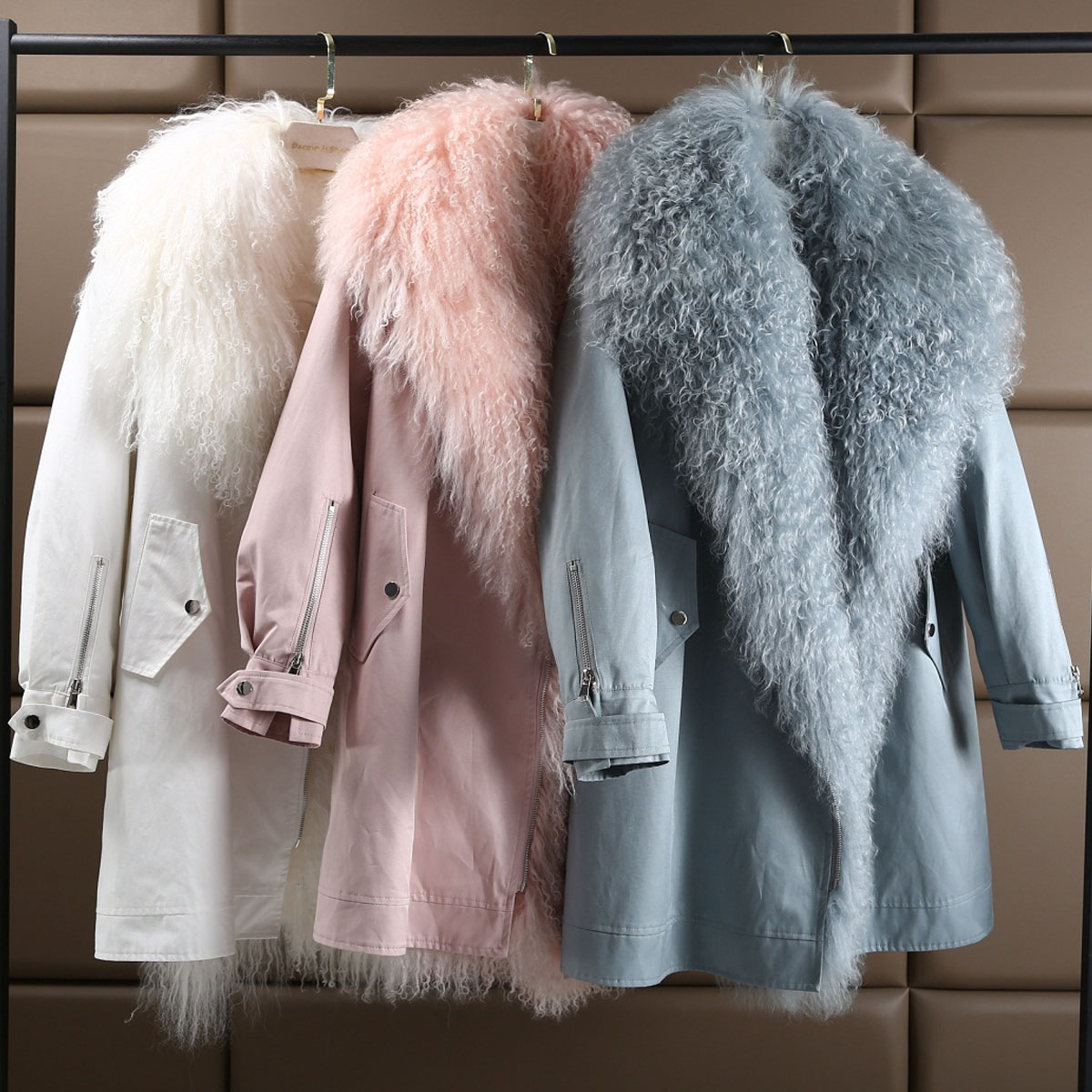 2018 New Arrivals Blue White Pink Real Fluffy Lambswool Fur Women Winter   Parkas   Mujer Loose Rabbit Fur Detachable Liner Jackets