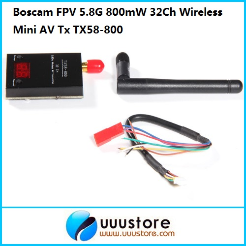 Boscam FPV 5.8G 5.8Ghz 800mW 32Ch Wireless Mini AV Transmitter TX58-800 | RP-SMA, jack fpv 5 8g av video receiver rx w led display channel display rc832 32ch rp sma