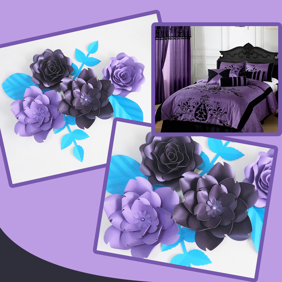 DIY Giant Paper Flowers Artificial Rose Fleurs Artificielles Backdrop 4pcs+ 4 Leave Wedding Party Decor Nursery Purple Series