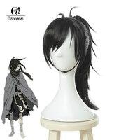ROLECOS Anime Dororo Cosplay Hair Hyakkimaru Cosplay Black Hair Men Synthetic Hair Cosplay Headwear
