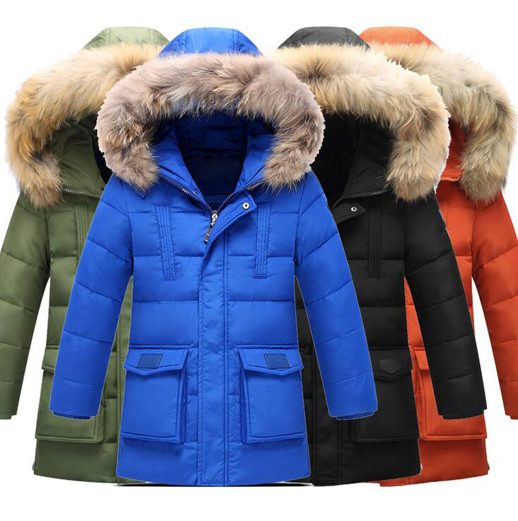 Solid Color Mild-long Children's Down Jackets Fur Collar Boys Warm Winter Coats Thickening Duck Down Padded Children Clothing 100% white duck down women coat fashion solid hooded fox fur detachable collar winter coats elegant long down coats