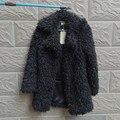 Осень-зима женщины розовый серый черный Искусственного меха руно берберский пальто экологичный тонкий женщин отложным воротником куртки пальто