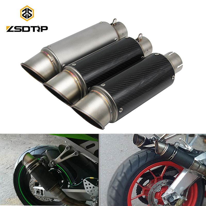 ZSDTRP Motorcycle Exhaust Pipe Muffler SC for KAWASAKI ER6N BMW S1000RR Stainless Steel Carbon Fiber Fit