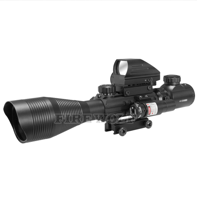 FIRE WOLF 4-12x50 Illuminated Rangefinder Reticle Rifle Scope Holographic 4 Reticle Sight 11mm 20mm Red Laser Combo Riflescope 1