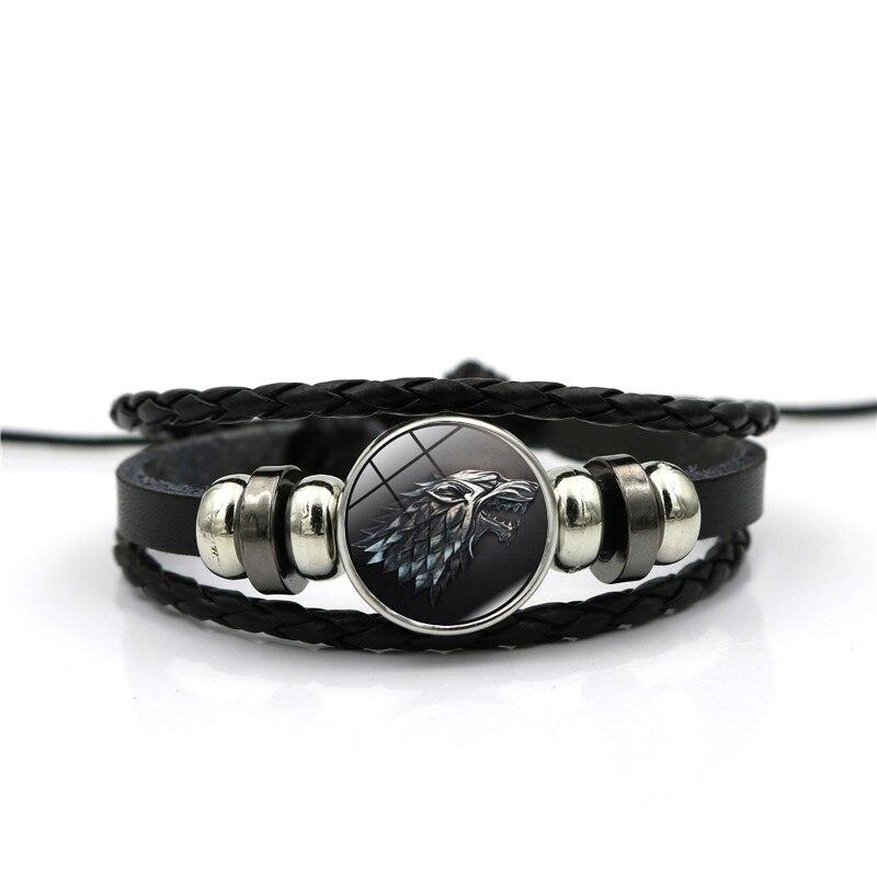 Игра престолов House Stark волк Стекло кабошон Кожаные браслеты нескольких слоев ткань ручной работы черного цвета в стиле панк Для мужчин Брасл...