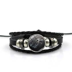 Игра престолов House Stark волк Стекло кабошон Кожаные браслеты нескольких слоев ткань ручной работы черного цвета в стиле панк Для мужчин