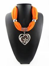 Women Ladies Jewelry Heart Gemstone Necklace Scarf Stole Charm Pendant Accessories