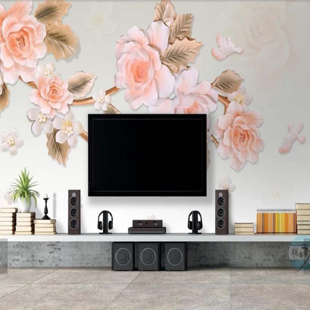 3d Embossed Flower Wall Mural For Living Room Bedroom Wallpaper
