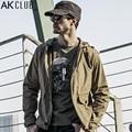 AK Marca CLUB de Hombres 2017 Chaqueta Cazadora Chaqueta Con Capucha 100% del Hoodie del Algodón Encerado Revestimiento Impermeable Parka Hombres Abrigo Corto 1504858