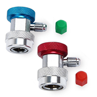 1 Pair Mayitr Adjustable Brass R134a Quick Couplers Adapter Durable A C Air Condition High Low