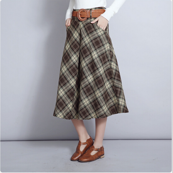 Online Shop Yellow Plaid Skirt Women 2016 Autumn Winter Vintage ...