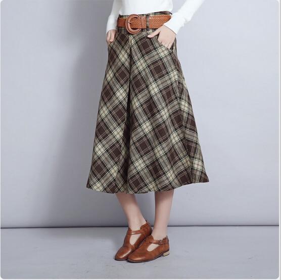 Online Shop Yellow Plaid Skirt Women 2016 Autumn Winter Vintage ...
