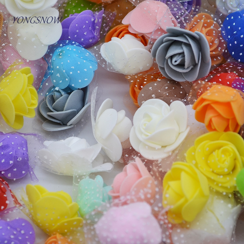 50pcs/lot Multi-use PE Foam Silk Rose Artificial Flower Head Handmade DIY Wedding Home Party Decorative Crafts Supplies