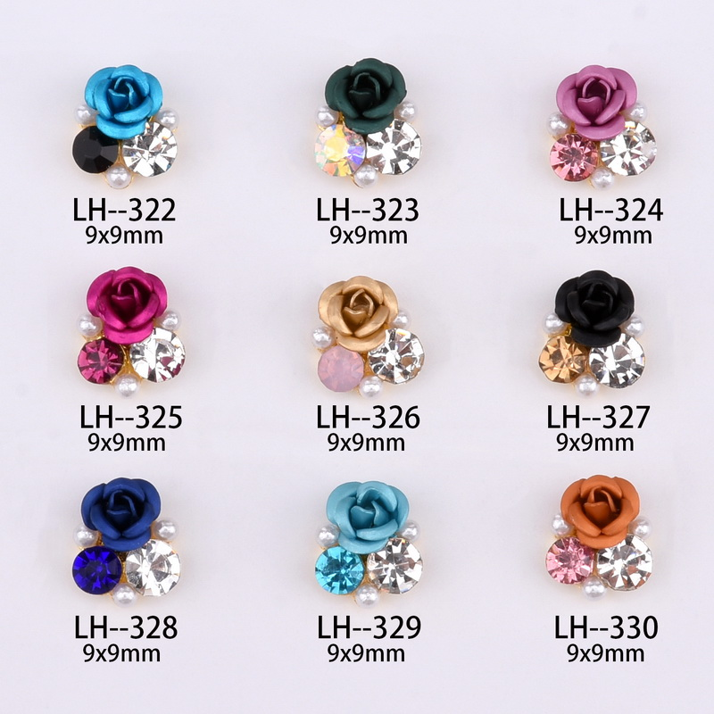Image 2 - 10psc  New Design 3D Nail Art Alloy Decorations rose flowers Crystal rhinestones Nail Charms Supplies LH322 330-in Rhinestones & Decorations from Beauty & Health