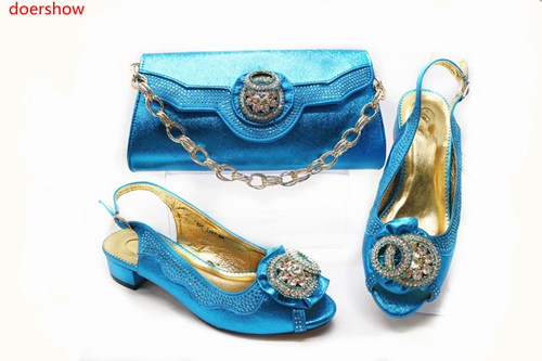 doershow African sky blue Shoes And Bag To Match High Quality Italian Shoes and Bag Set Nigerian Party Shoe and Bag Set!!HBR1-16 doershow new arrival shoes and bag to match italian summer african style shoes and bag set italy ladies shoes and bag as1 33