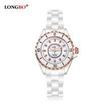 2016 Nueva Marca de Lujo LONGBO Mujeres Ginebra Reloj de Cerámica de Moda Mujer de Cuarzo Relojes de Señora relojes de Pulsera relojes mujer 8628