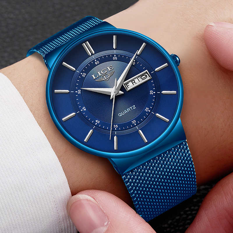 Новинка 2019, синие кварцевые часы LIGE, мужские часы, Топ бренд, роскошные часы для мужчин, простые полностью стальные водонепроницаемые наручные часы, Reloj Hombre