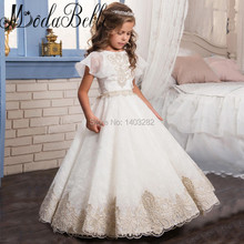 2017 Summer Flower Princess Girl Dress For Weddings Lace Beaded Prom Party Birthday Baby Girls Pageant Dresses Kids Dress Child