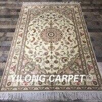 4'x6 'تصميم الزهور غرفة المعيشة التركي ييلونغ دائم الصوف الحرير البساط 100% ناحية معقود السجاد الصوف (WY2092S4x6)