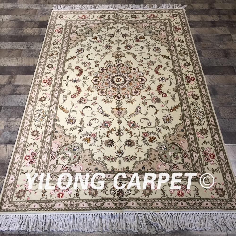 Yilong 4'x6 'turc design floral salon durable laine soie tapis 100% noué à la main laine tapis (WY2092S4x6)