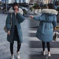2018 large fur collar warm winter coat women long parka female loose thick winter jackets women plus size jacket ladies outwear