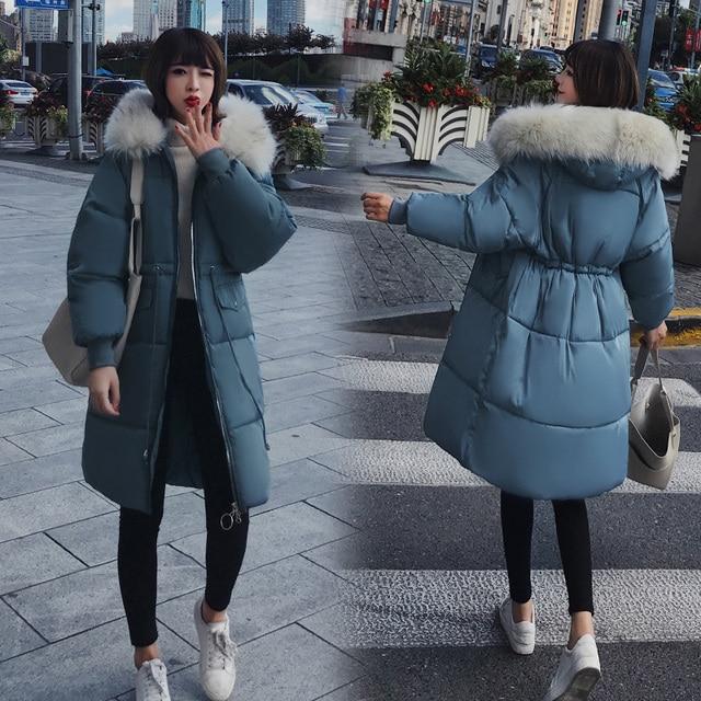 Best Price 2018 large fur collar warm winter coat women long parka female loose thick winter jackets women plus size jacket ladies outwear
