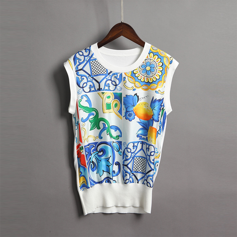 2018 Spring Summer Women Print Vintage Sleeveless Sweaters High Quality European Style O ...