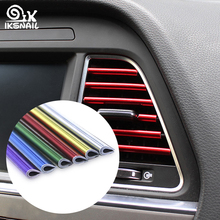 купить IKSNAIL Car-styling Plating Air Outlet Trim Strip Air Vent Grille Switch Rim Trim Decoration Strip DIY Auto Interior Mouldings дешево