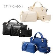 Frauen Messenger Bags 3 Teile/satz Luxus Leder Handtaschen Krokoprägung Frauen Umhängetasche + Geldbörse Brieftasche