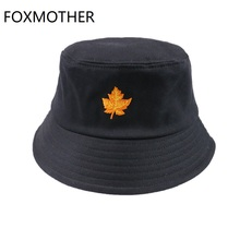 FOXMOTHER New Fashion Black Pink Color Canada Maple Leaf Bucket Hats And Caps Fisherman Men Womens