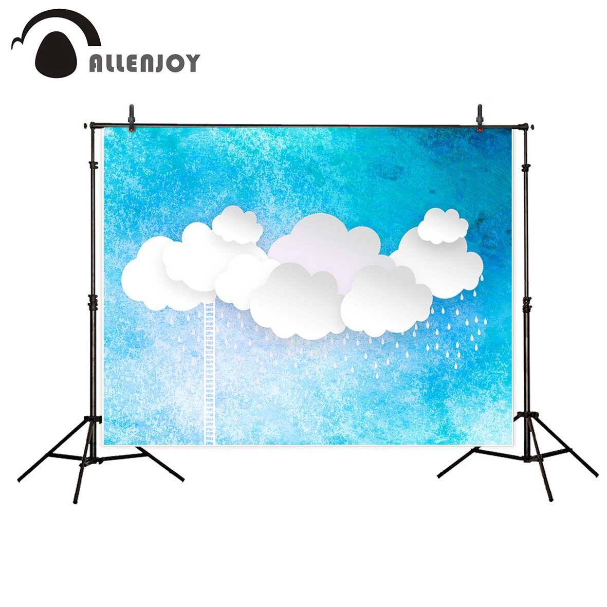 Allenjoy photography backdrop baby shower blue sky paper cloud ladder professional background photo printer for kids blue sky чаша северный олень